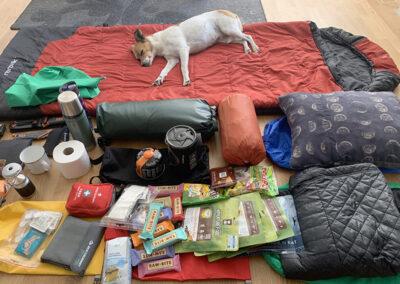 Gårdhunden Bimse får en lur på alt grejet der er lagt frem, aftenen inden det går løs - Vandretur fra Silkeborg til Aarhus