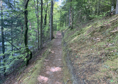 Det er svært at beskrive, men til venstre for stien var der meget stejlt – ikke en tur man gider tage med rygsæk